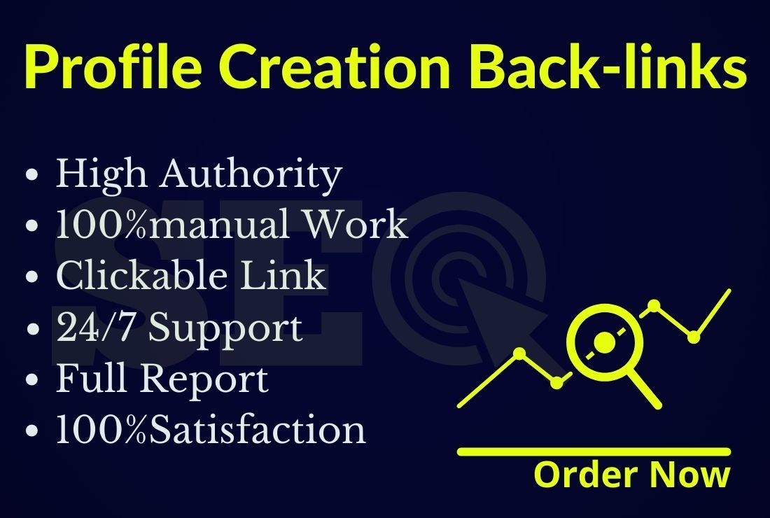I will provide HQ 50 do-follow profile creation backlinks on high DA PA sites