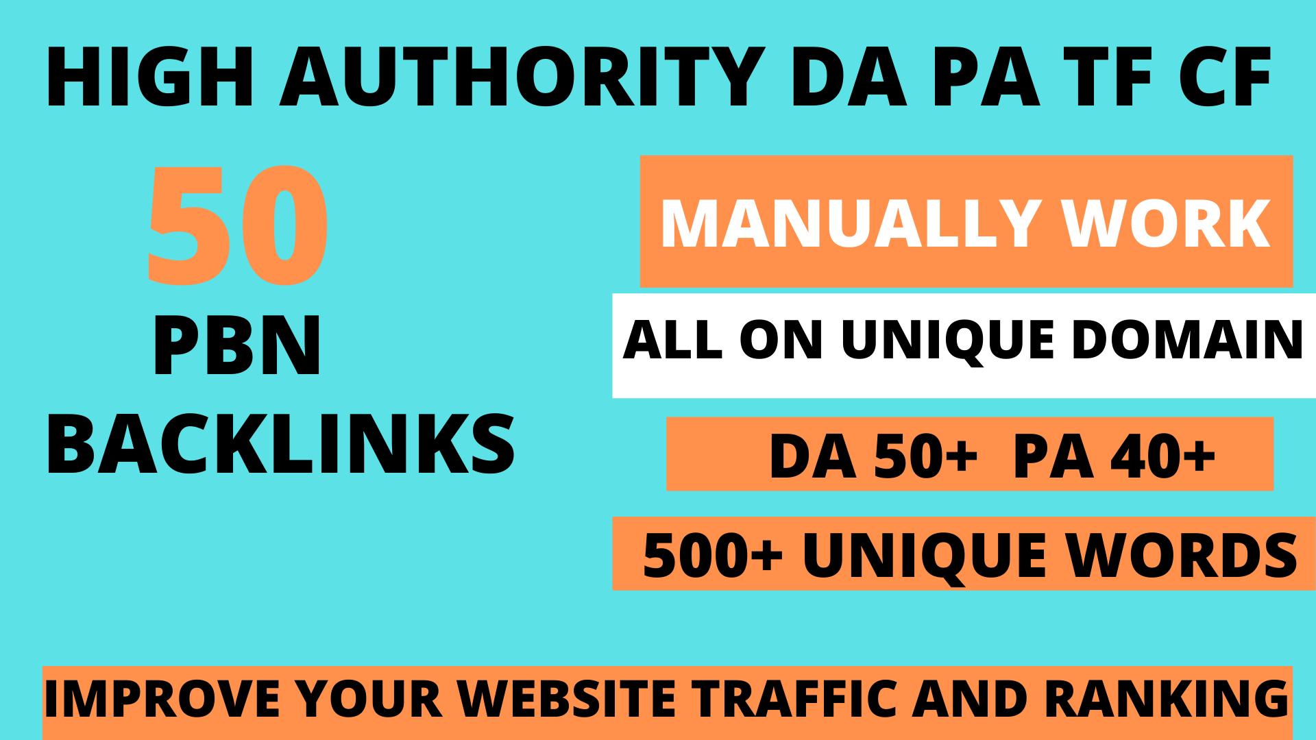 Build 50 web 2.0 DA 60+ PA 40+ TF CF Permanent Dofollow backlink