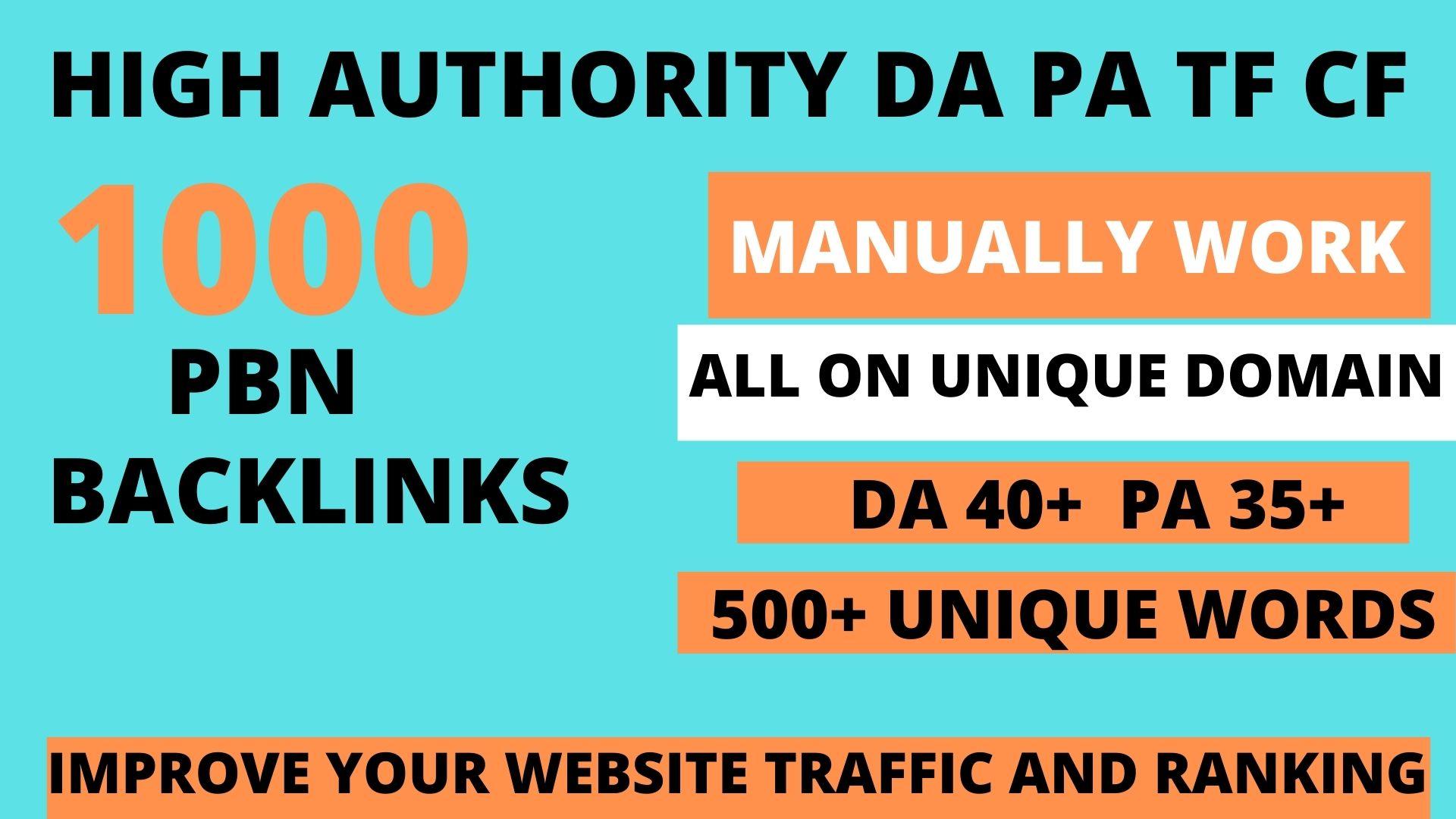 Build 1000 web 2.0 DA 40+ PA 35+ TF CF Permanent Dofollow backlink
