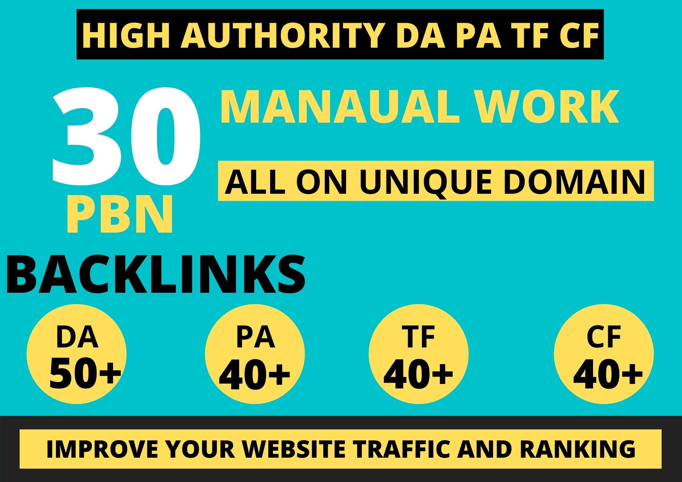 Build 30 web 2.0 45 plus DA PA TF CF Permanent Dofollow backlink