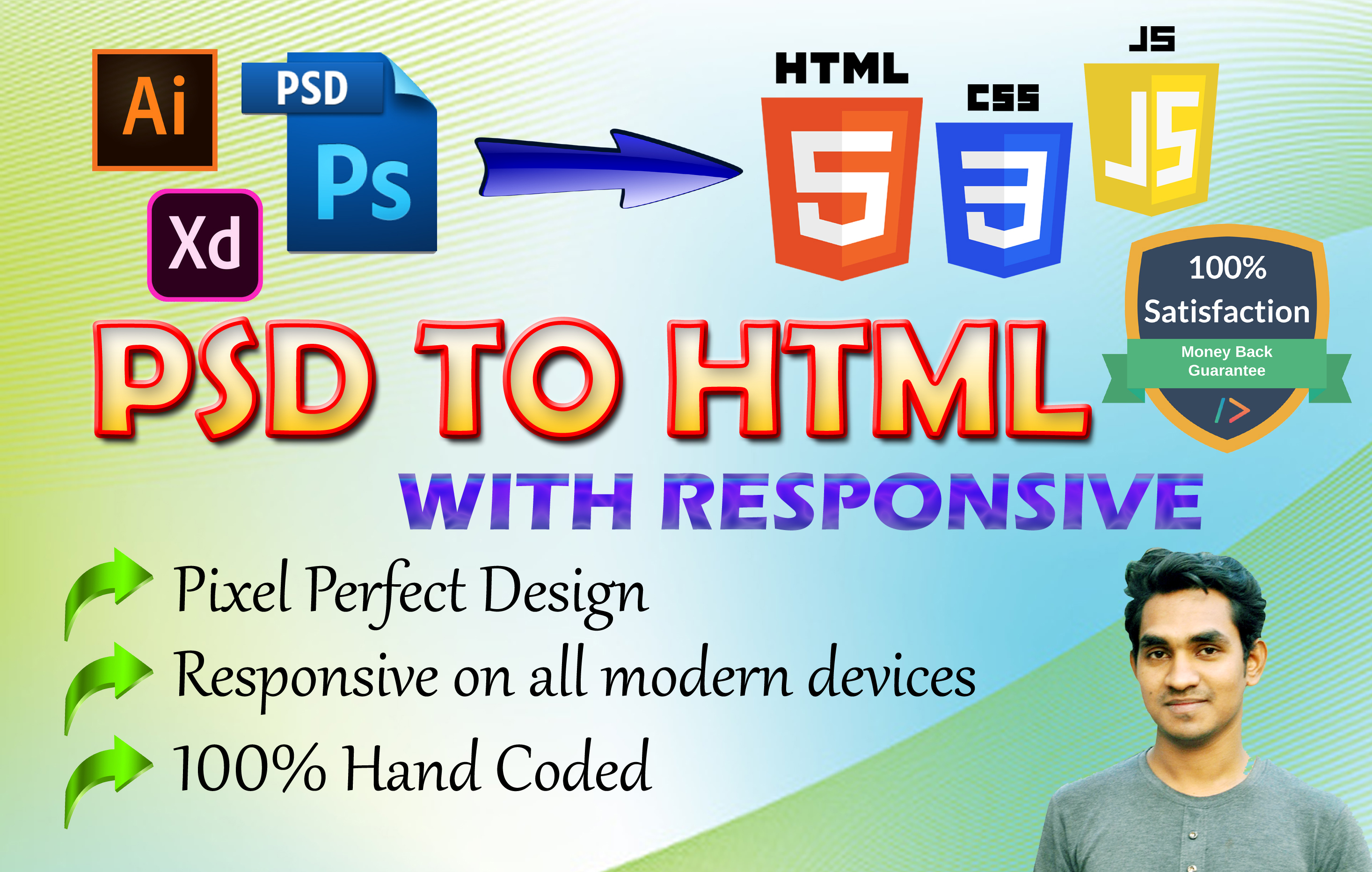 I will convert PSD to html,  PDF to html,  sketch to html responsive design