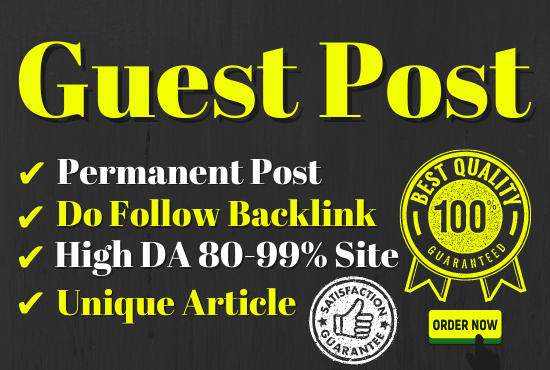 Do-follow Unique 10 Guest post with different article 500+ word each article DA 80+ permanent post