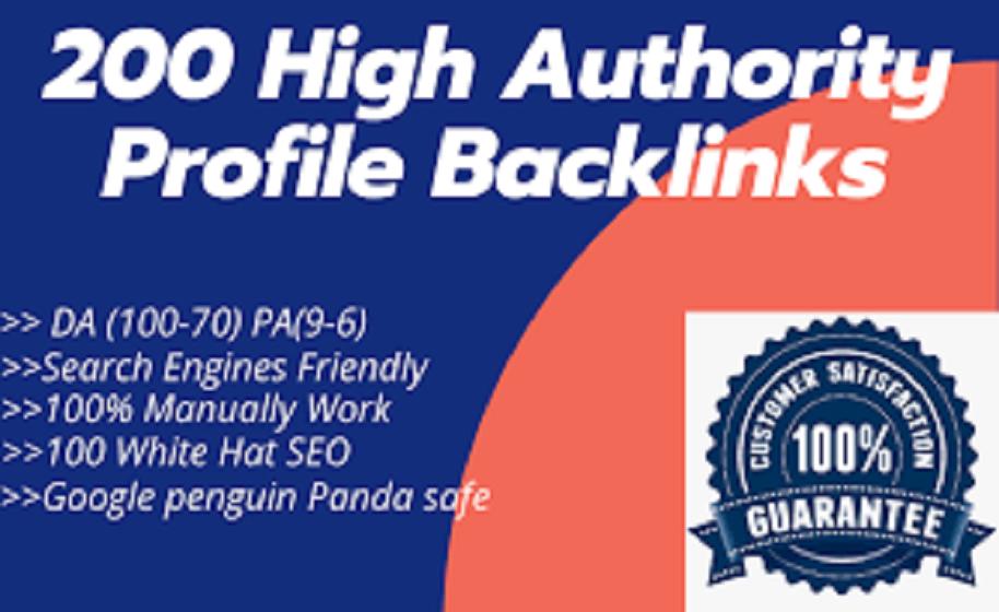 I will provide 200 high DA/PA,  DR/PR,  TF/CF manually profile backlinks for google ranking