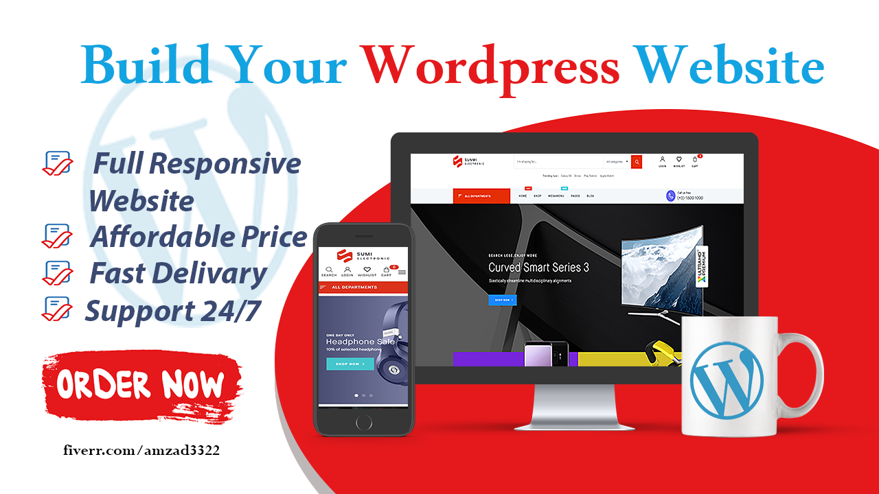 I will design a professional wordpress responsive website