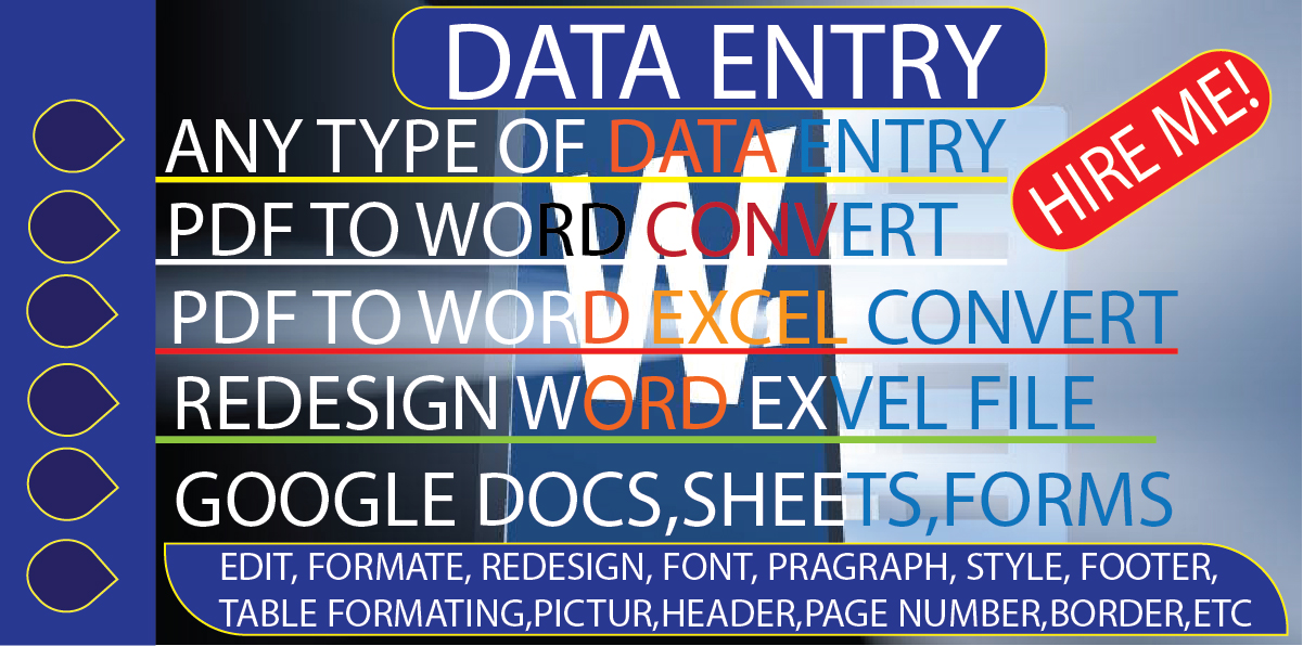 I will do copy past typing data entry office word,  excel,  google docs,  sheet,  editing
