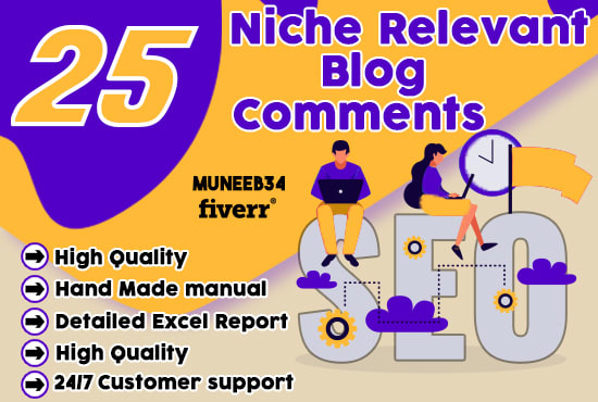 Provide you 25 Manual Build Niche Relevant Blog Comments Link Building Service
