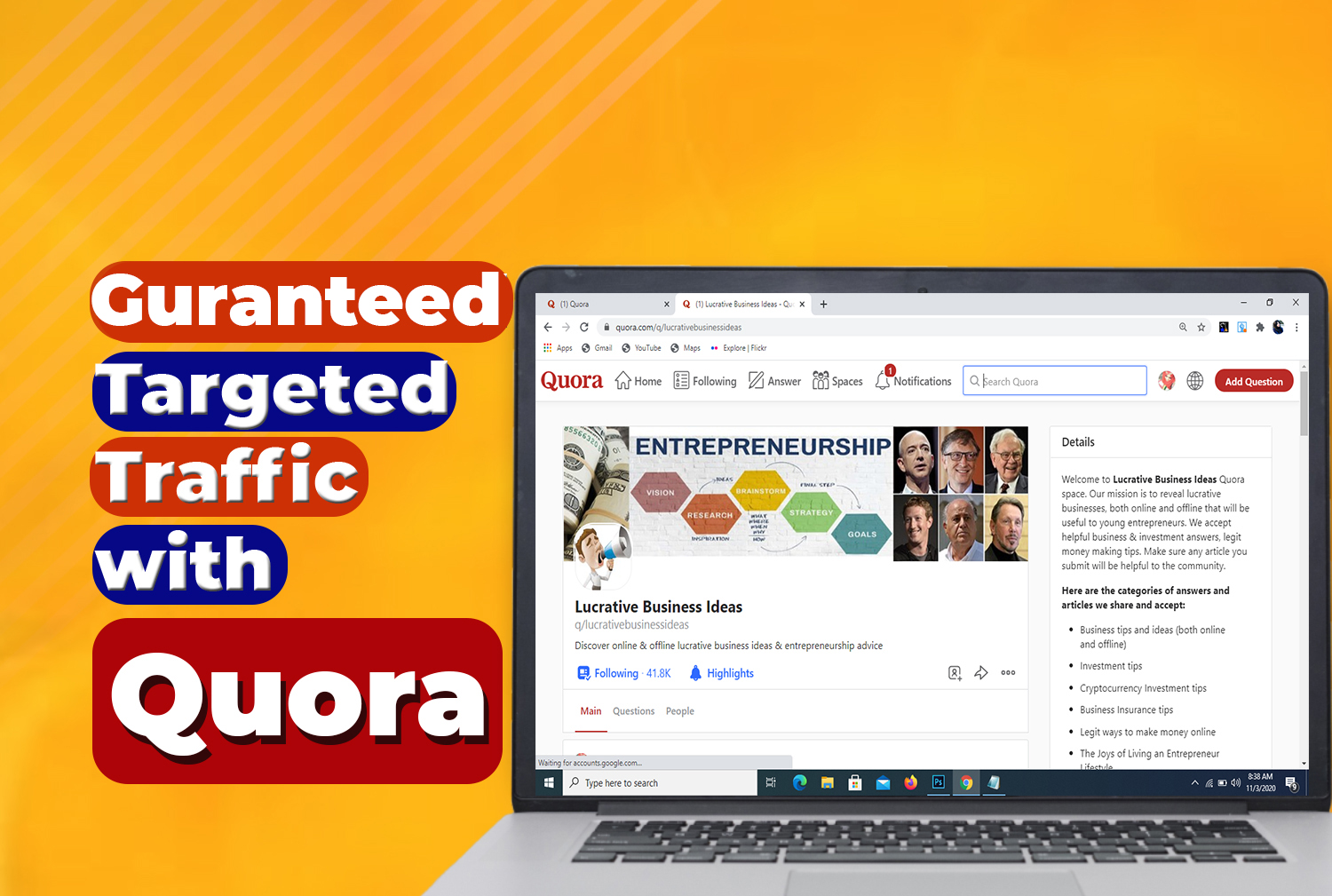 Lead Organic Niche Relevant Traffic with 20 Quora Answers
