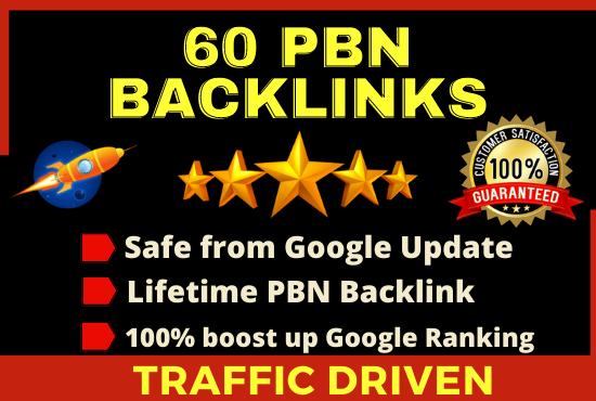 60 High DA/PA PBN Homepage Dofollow Backlinks