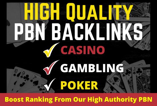 I will build 100 PBN Backlinks for Casino Bingo Gambling agen judi dofollow links unique domains