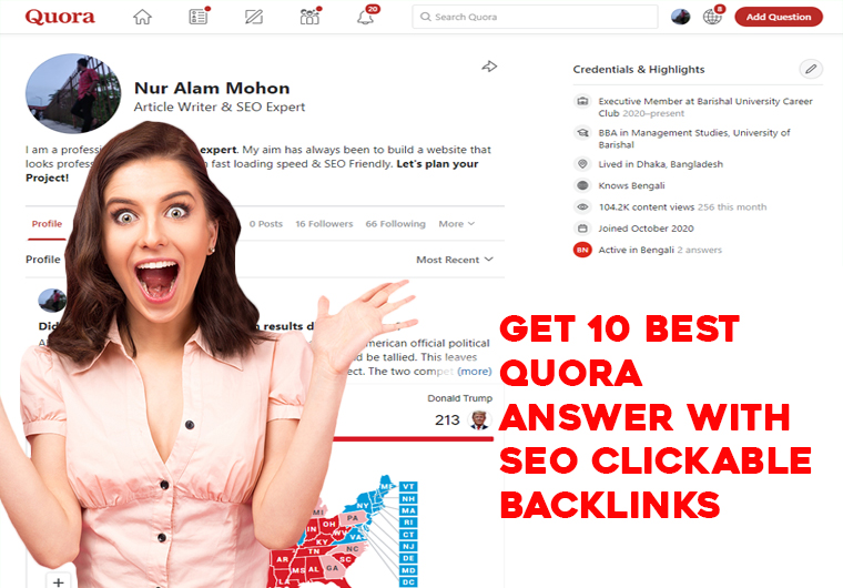 GET 10 Best Quora Answer SEO Clickable Backlinks for your website