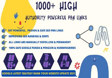 Get 1000+ Permanent PBN Backlinks Web2.0 With High DA45+PA40+PR6+ Links Homepage Unique website