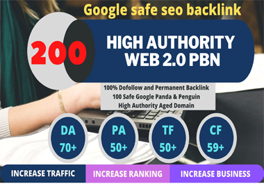 web 2.0 and 200 Dofollow with high DA/PA in your webpage with unique website