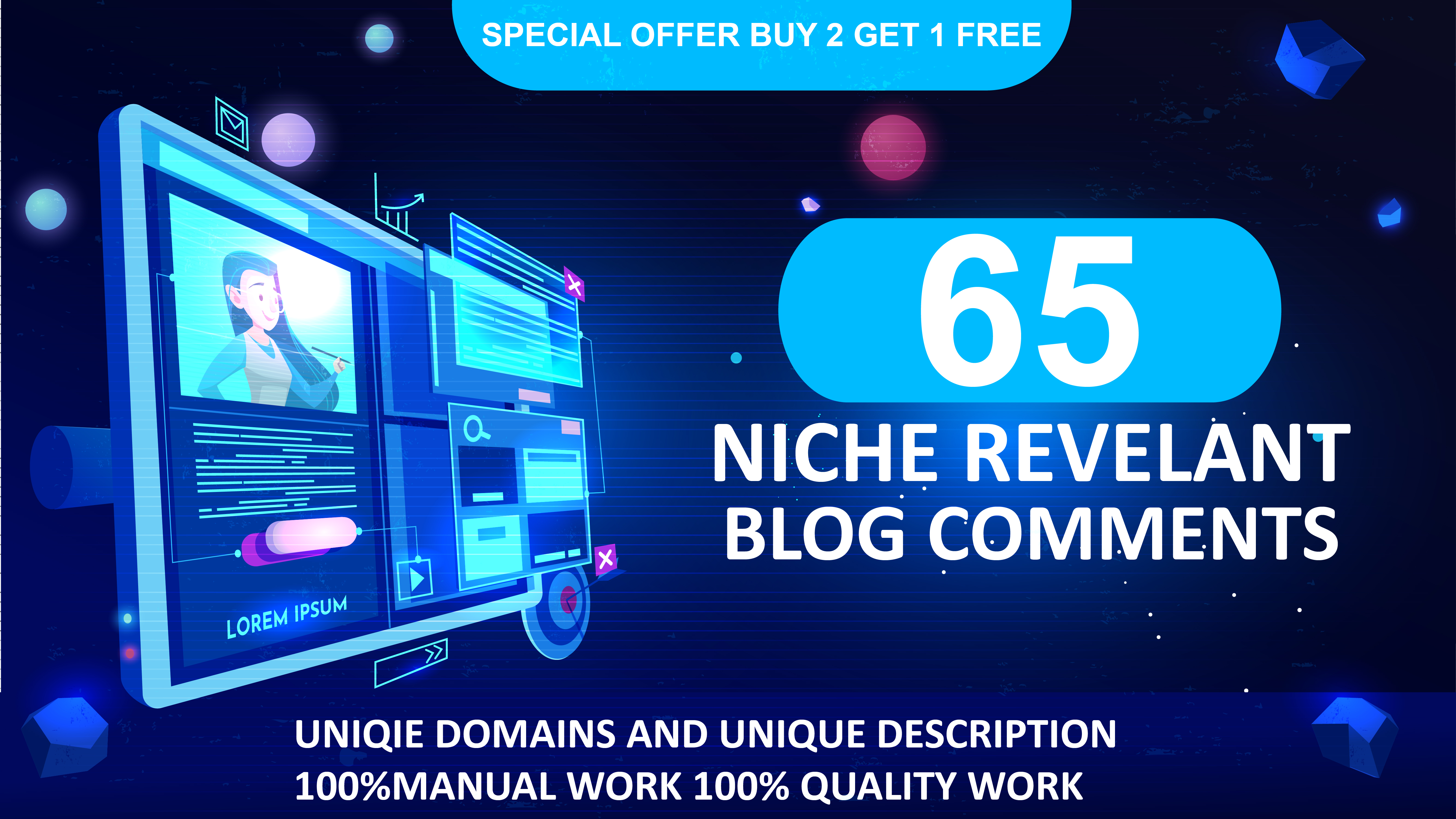 i will create 65 Niche relevant High Quality Blog Comment