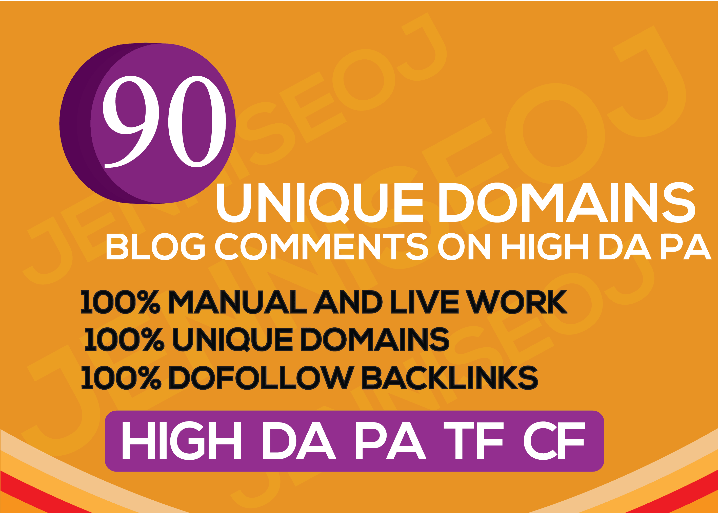 I will create manually 90 unique domain dofollow backlinks on 20+ high DA