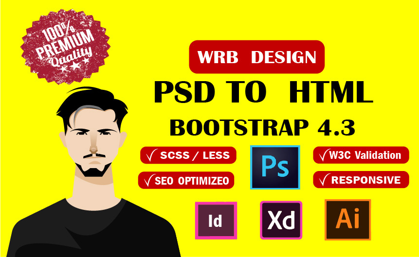 I will convert psd to html sketch to html xd to html bootstrap
