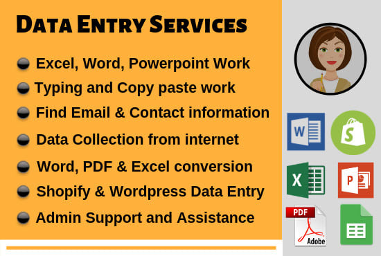 I will do excel data entry, mining, scraping, find email address, shopify product lists