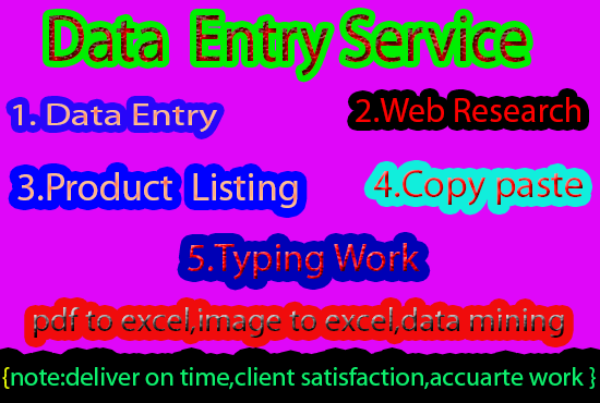 I will do fast excel data entry and web research
