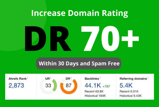 I will increase ahrefs domain rating DR 70+ by SEO authority backlinks