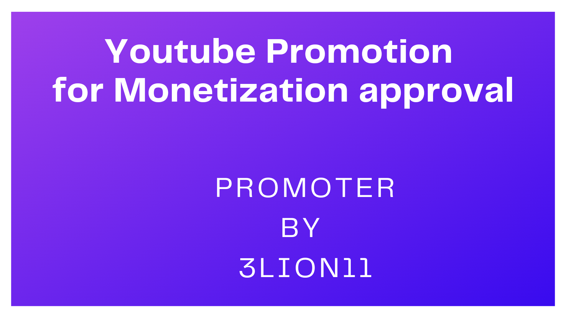 High Quality Youtube video promotion by 3Lion11