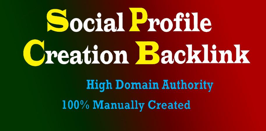 I will manually create 100 social media profile or profile creation backlinks with high DA