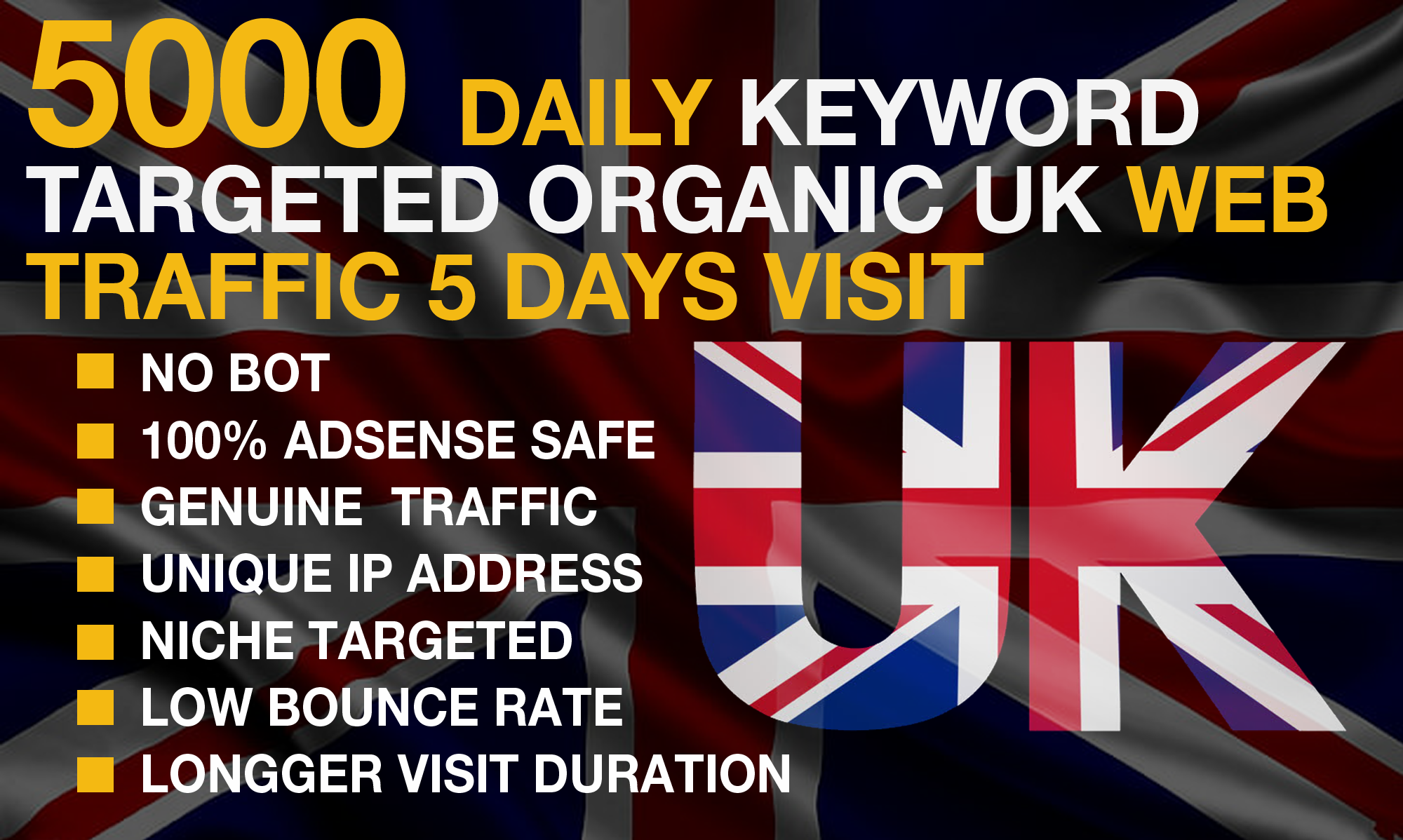 we will drive 25,000 keywords targeted organic UK web traffic