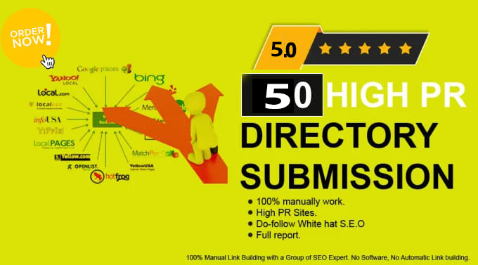 I will do 100 powerful manual directory submission backlinks 80+DA