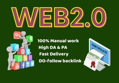 30 Web2.0 High authority Powerful backlinks high DA Do-follow link building permanent backlinks