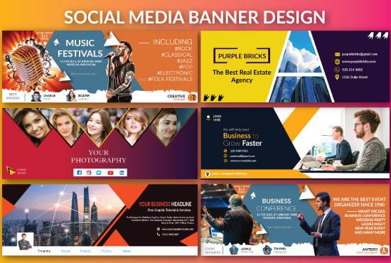 I will design stunning facebook, twitter, linkedin, instagram, youtube cover banner