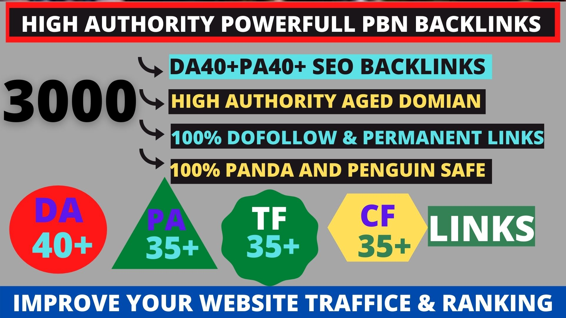 Get powerfull 3000+ pbn backlink with high DA/PA/TF/CF on your homepage with unique website