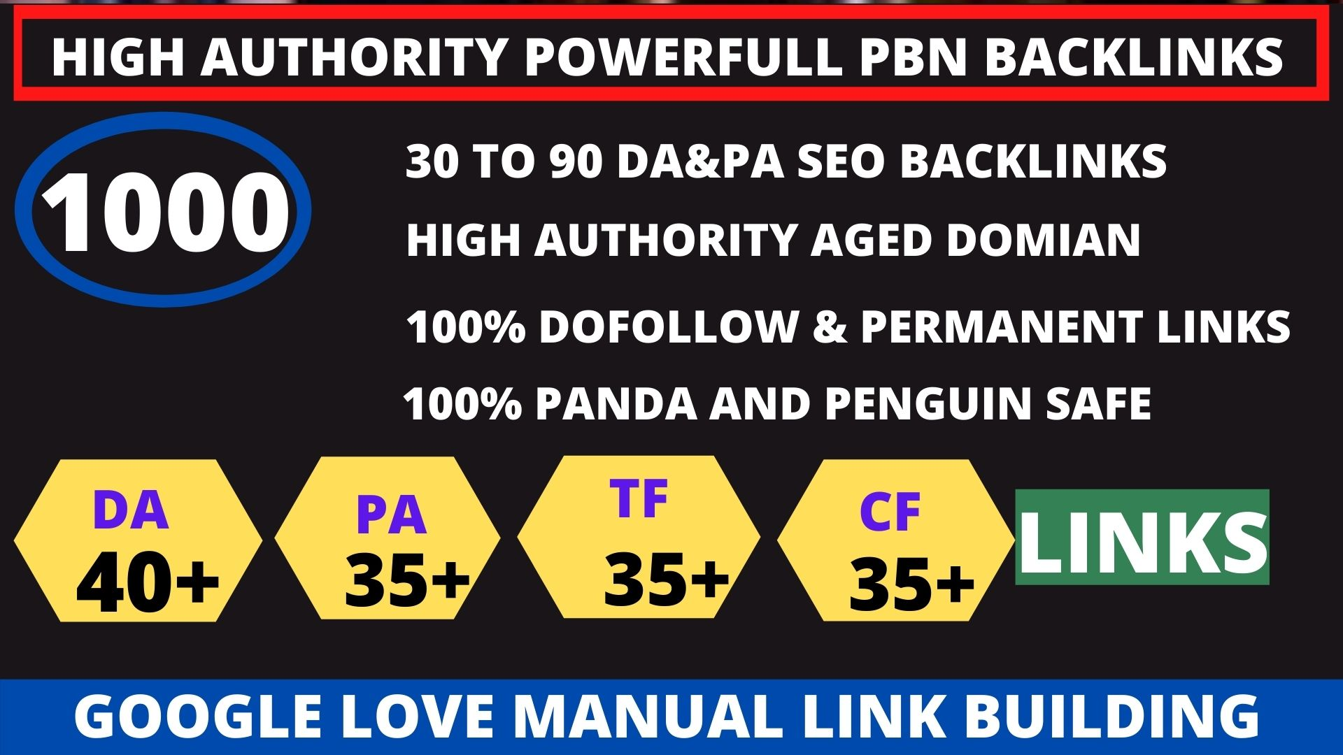 Build 1000+ pbn backlink with high DA/PA/TF/CF on your homepage with unique website