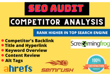 I will provide expert SEO report,  website audit and competitor analysis
