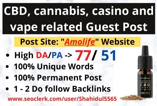 CBD,  Cannabis,  Casino,  related guest post on High DA website