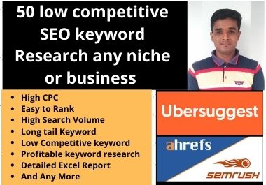 50 low competitive SEO keyword research any niche or business