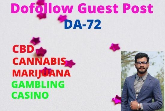 I will provide CBD,  Cannabis,  Casino,  Marijuana,  Gambling Dofollow link On DA72