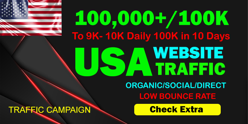 I will Drive Organic 100,000 Traffic From The USA To Your website within 10 days.