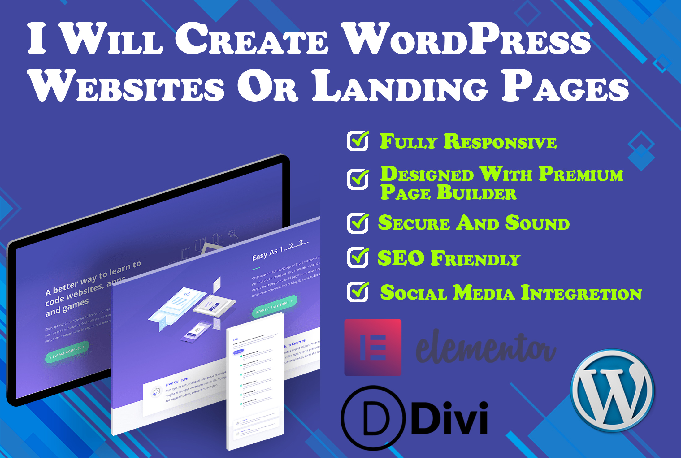 I Will Create Professional WordPress Website Or Landing Pages For Your Business