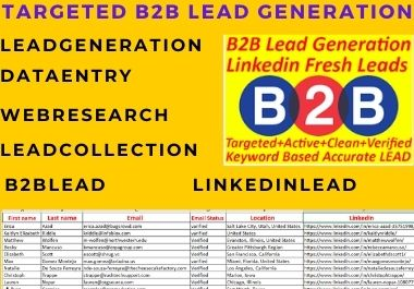 I will do targeted b2b lead generation from linkedin ,web research