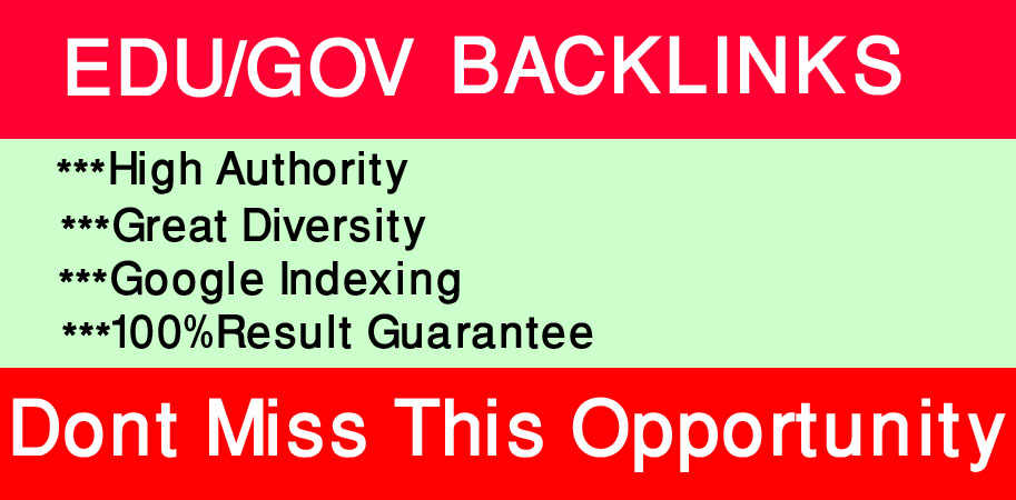 I will create 10 Edu,  Gov high quality backlinks.