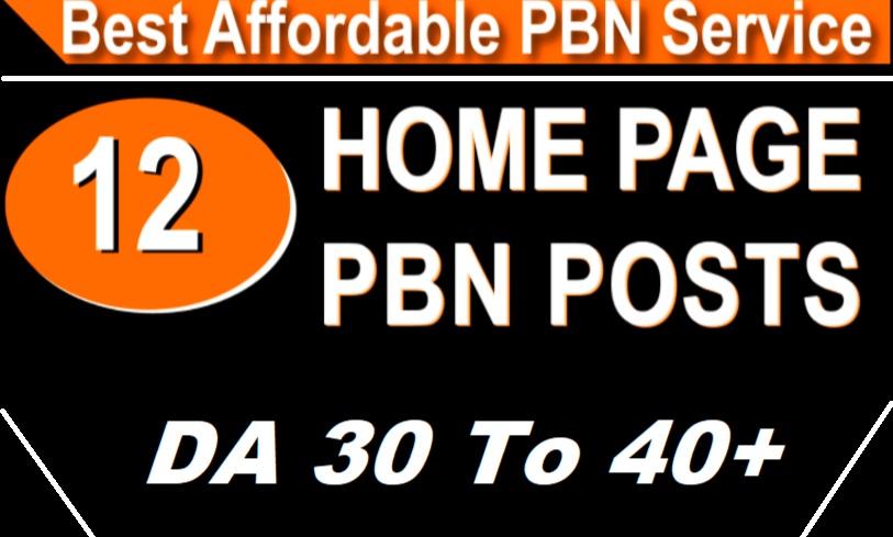 Get 12 High DA 30-40+ Homepage Dofolow pbn links.