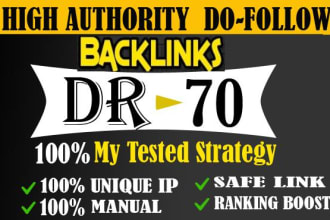I will provide DR 50 to 70 SEO backlinks for google top rank.