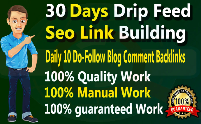 I will submit 30 days drip feed SEO link building service daily 10 blog comments