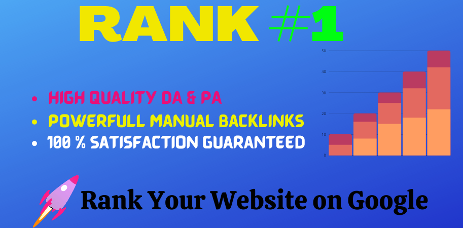 Rank Your Website on Google 1St page,  30 Days Manually SEO Backlinks