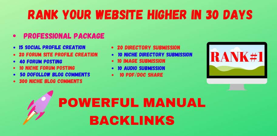 Rank Your Website on Google,  30 Days High DA & PA SEO Backlinks Manually