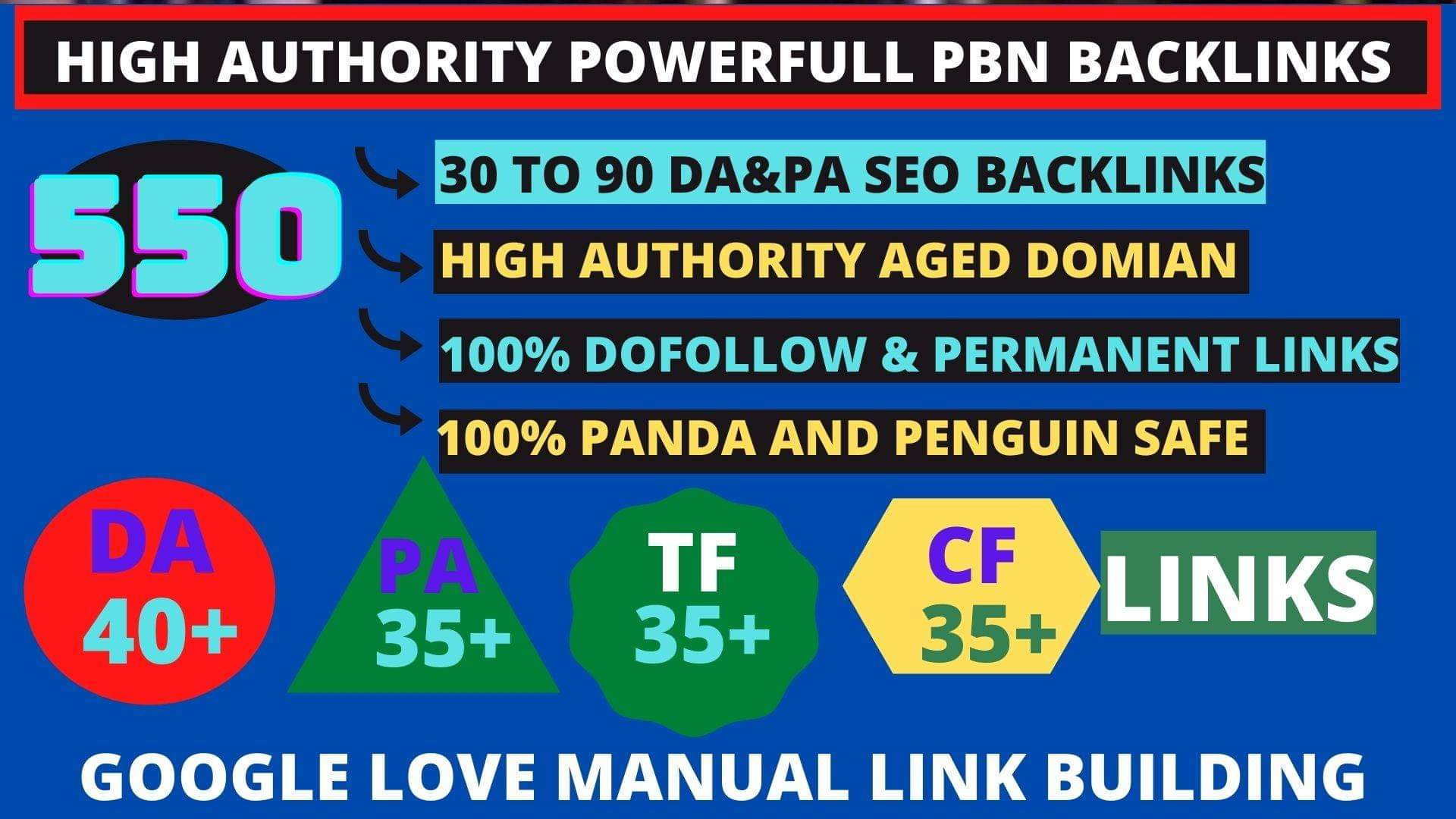 Get powerfull 550+ pbn backlink with high DA/PA/TF/CF on your homepage with unique website