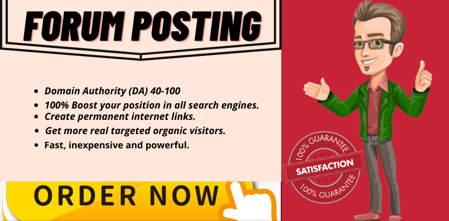 I will meet the expense of 40 high authority forum posting backlinks