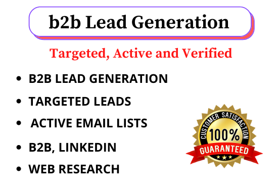 I will do 100 targeted b2b lead generation,  email list building and web research