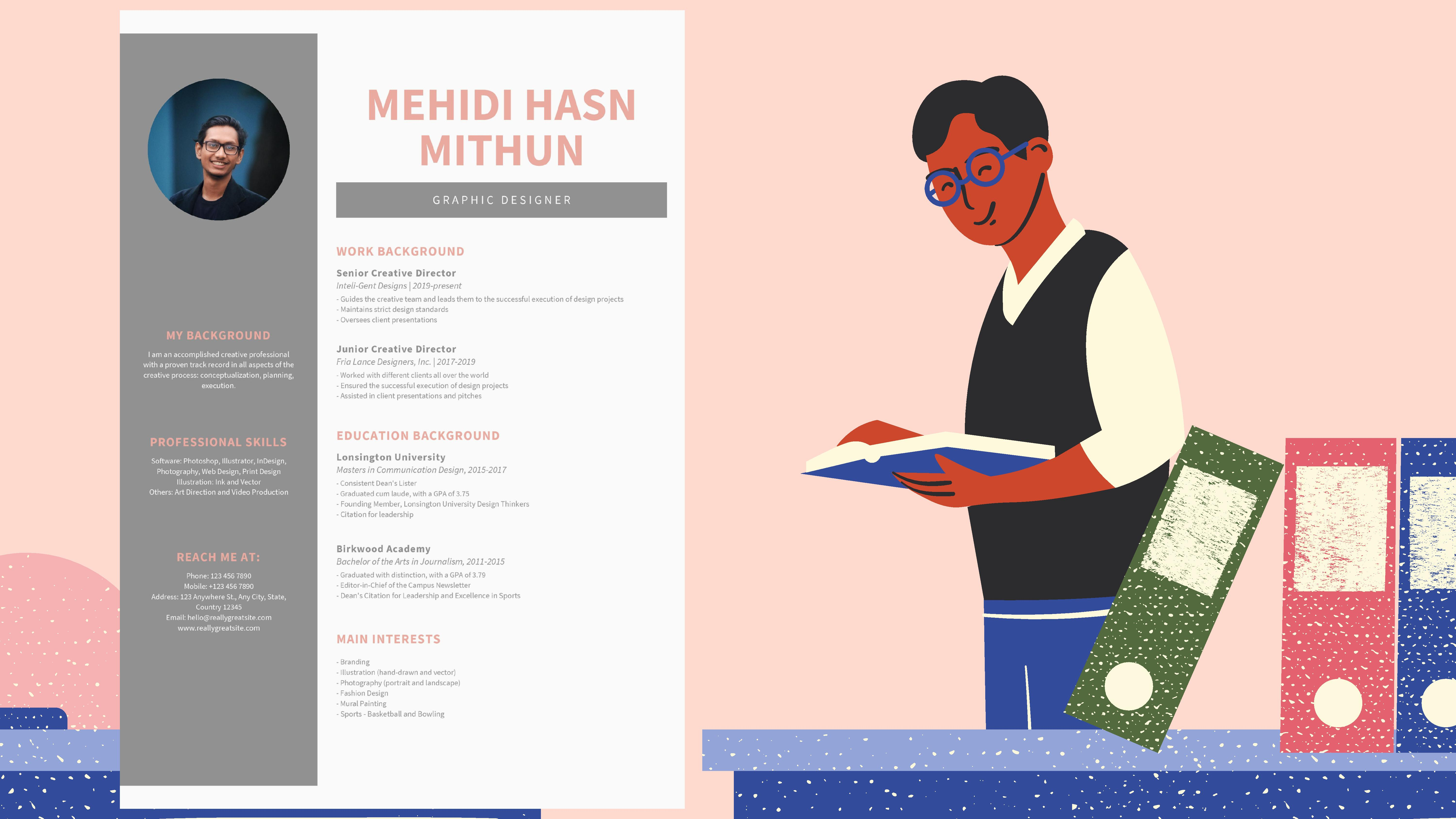 I will design a professional CV and resume in 1 day