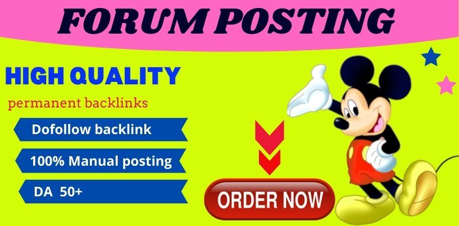 Manually Do 20 Forum Posting Backlinks On High Authority Websites