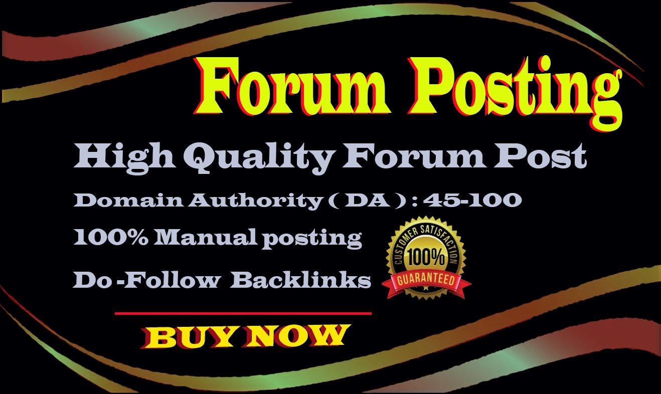 I will create high quality 40 dofoll0w forum post backlinks on high da sites