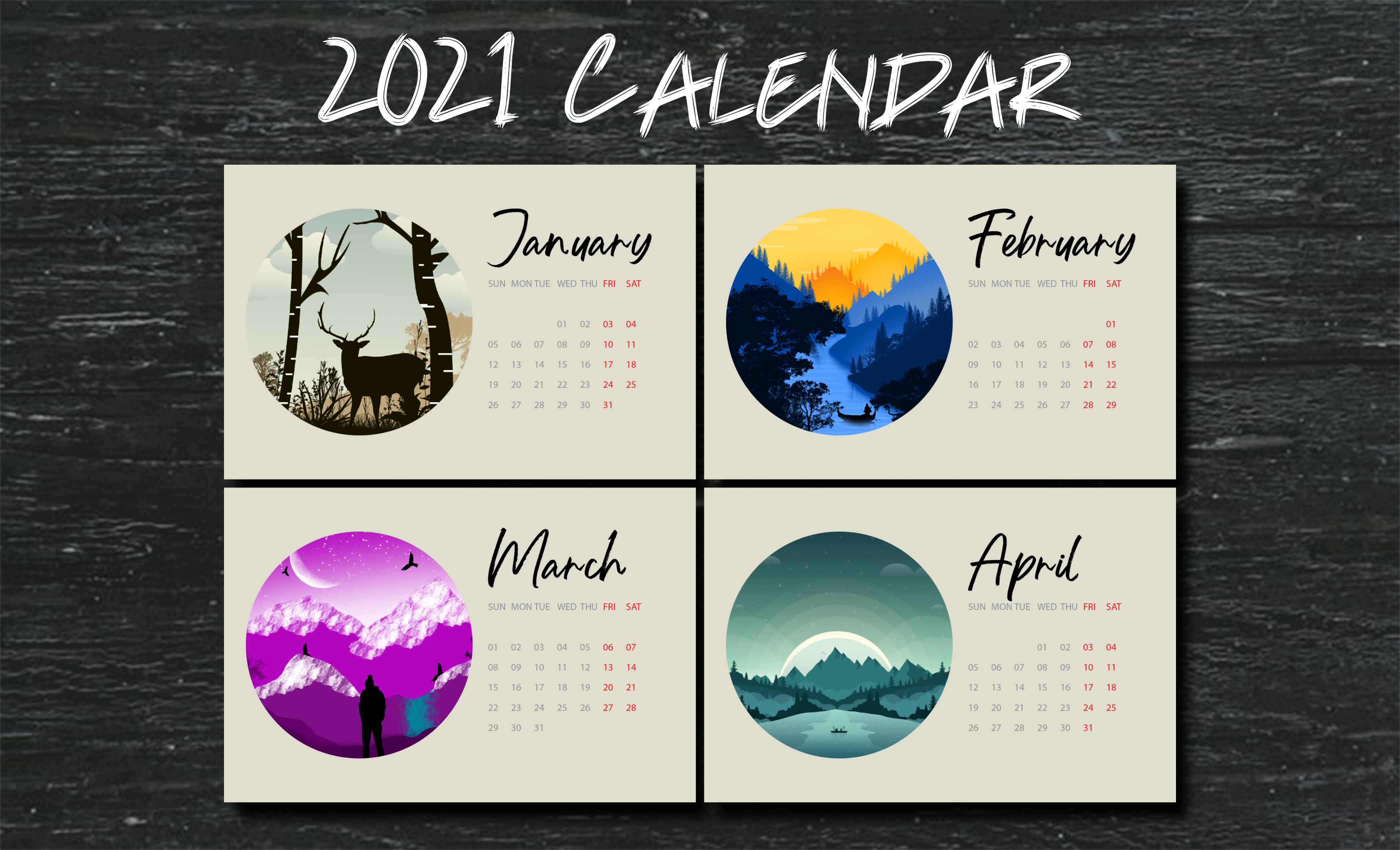 I will design amazing desk and wall calendar for you